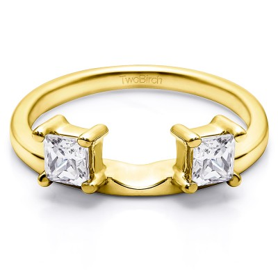 0.25 Ct. Two Stone Princess Cut Ring Wrap Enhancer in Yellow Gold