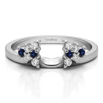 0.23 Ct. Sapphire and Diamond Triangular Cluster Ring Wrap Enhancer
