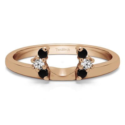 0.13 Ct. Black and White Round Half Round Halo Ring Wrap  in Rose Gold