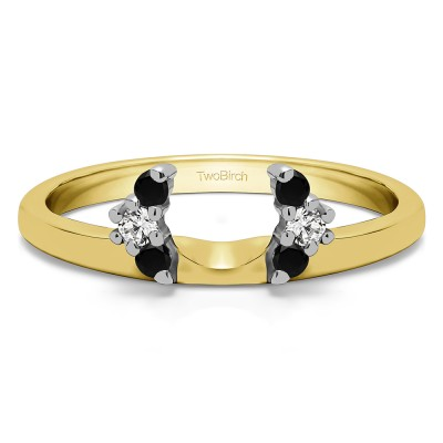 0.13 Ct. Black and White Round Half Round Halo Ring Wrap  in Two Tone Gold