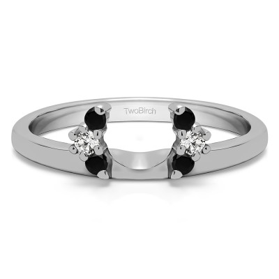 0.13 Ct. Black and White Round Half Round Halo Ring Wrap