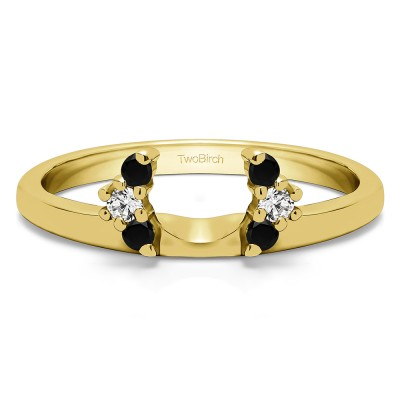 0.13 Ct. Black and White Round Half Round Halo Ring Wrap  in Yellow Gold