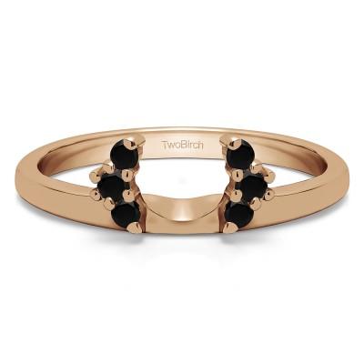 0.13 Ct. Black Round Half Round Halo Ring Wrap  in Rose Gold
