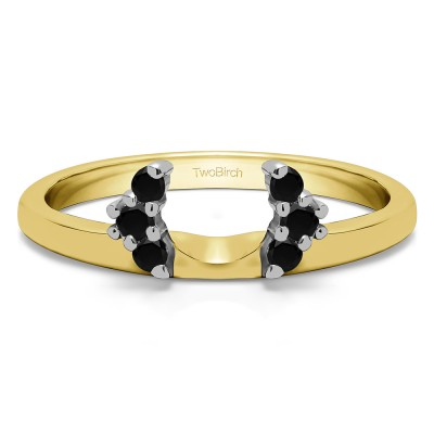 0.13 Ct. Black Round Half Round Halo Ring Wrap  in Two Tone Gold