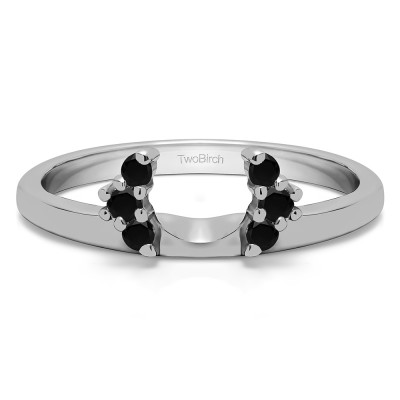 0.13 Ct. Black Round Half Round Halo Ring Wrap