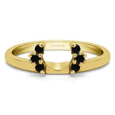 0.13 Ct. Black Round Half Round Halo Ring Wrap  in Yellow Gold