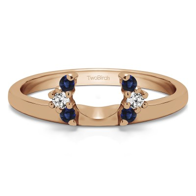 0.13 Ct. Sapphire and Diamond Round Half Round Halo Ring Wrap  in Rose Gold