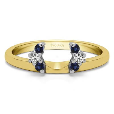 0.13 Ct. Sapphire and Diamond Round Half Round Halo Ring Wrap  in Two Tone Gold