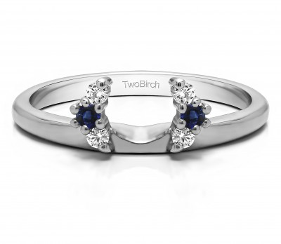 0.13 Ct. Sapphire and Diamond Round Half Round Halo Ring Wrap