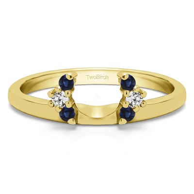 0.13 Ct. Sapphire and Diamond Round Half Round Halo Ring Wrap  in Yellow Gold