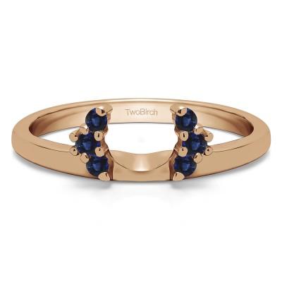 0.13 Ct. Sapphire Round Half Round Halo Ring Wrap  in Rose Gold