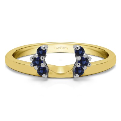 0.13 Ct. Sapphire Round Half Round Halo Ring Wrap  in Two Tone Gold