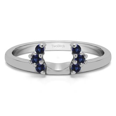 0.13 Ct. Sapphire Round Half Round Halo Ring Wrap
