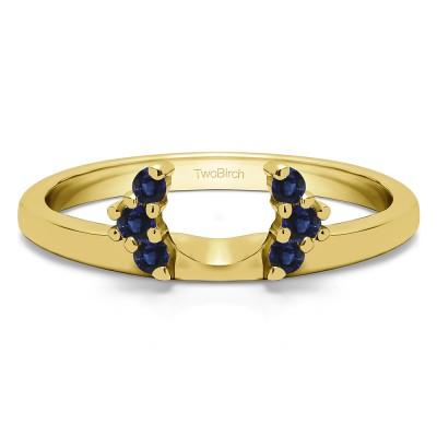 0.13 Ct. Sapphire Round Half Round Halo Ring Wrap  in Yellow Gold