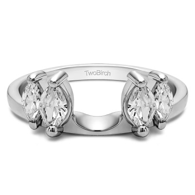 0.32 Ct. Graduated Marquise Solitaire Enhancer Ring Wrap