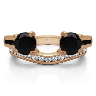 0.75 Ct. Black and White Two Stone Ring Wrap with Channel Set Band in Rose Gold