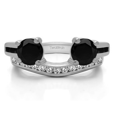 0.75 Ct. Black and White Two Stone Ring Wrap with Channel Set Band