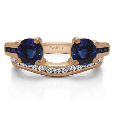 0.65 Ct. Sapphire and Diamond Two Stone Ring Wrap with Channel Set Band in Rose Gold