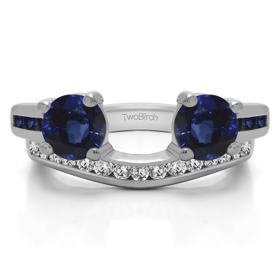 0.65 Ct. Sapphire and Diamond Two Stone Ring Wrap with Channel Set Band