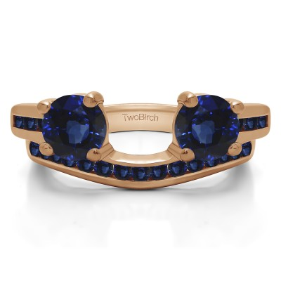 0.65 Ct. Sapphire Two Stone Ring Wrap with Channel Set Band in Rose Gold