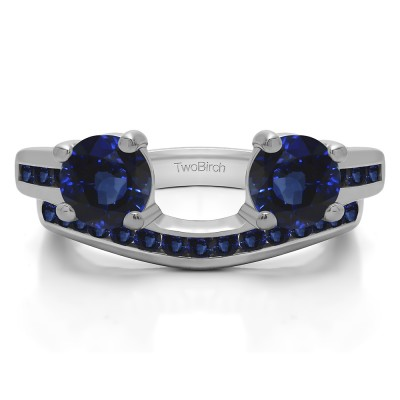 0.65 Ct. Sapphire Two Stone Ring Wrap with Channel Set Band