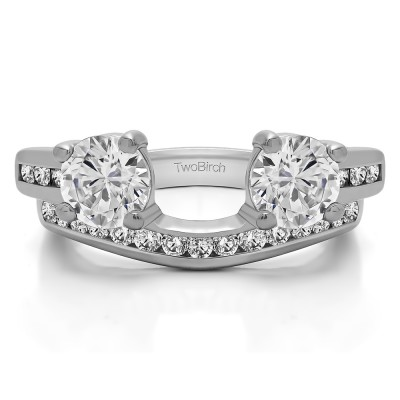 0.75 Ct. Two Stone Ring Wrap with Channel Set Band