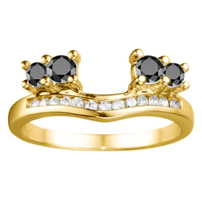 0.73 Ct. Black and White Four Stone Solitaire Anniversary Ring Wrap Enhancer in Yellow Gold
