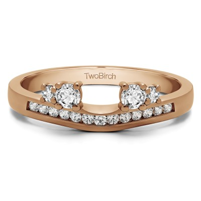 0.34 Ct. Four Stone Solitaire Anniversary Ring Wrap Enhancer in Rose Gold