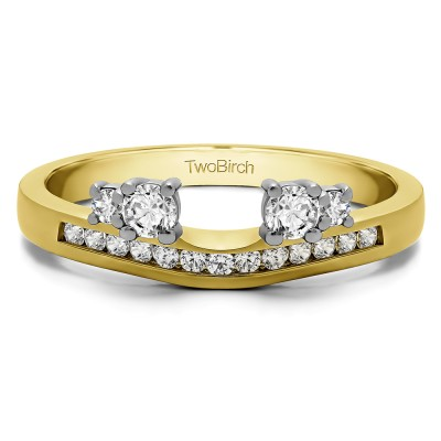 0.34 Ct. Four Stone Solitaire Anniversary Ring Wrap Enhancer in Two Tone Gold