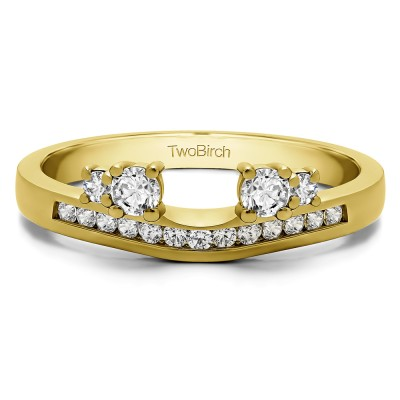 0.34 Ct. Four Stone Solitaire Anniversary Ring Wrap Enhancer in Yellow Gold