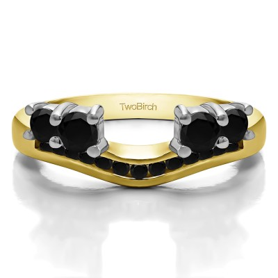 0.34 Ct. Black Four Stone Solitaire Anniversary Ring Wrap Enhancer in Two Tone Gold