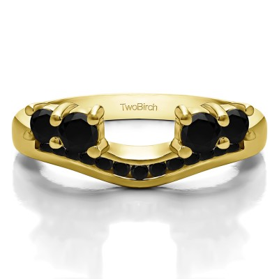 0.34 Ct. Black Four Stone Solitaire Anniversary Ring Wrap Enhancer in Yellow Gold