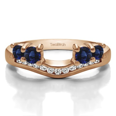 0.34 Ct. Sapphire and Diamond Four Stone Solitaire Anniversary Ring Wrap Enhancer in Rose Gold