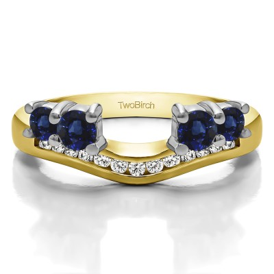 0.34 Ct. Sapphire and Diamond Four Stone Solitaire Anniversary Ring Wrap Enhancer in Two Tone Gold