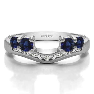 0.34 Ct. Sapphire and Diamond Four Stone Solitaire Anniversary Ring Wrap Enhancer