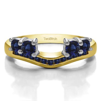 0.34 Ct. Sapphire Four Stone Solitaire Anniversary Ring Wrap Enhancer in Two Tone Gold