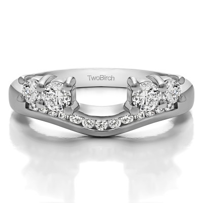 TwoBirch Sterling Silver Solitaire Anniversary Ring Wrap Enhancer With Cubic Zirconia (0.5 Ct Size 3 3/4)