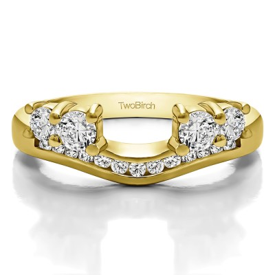 0.5 Ct. Four Stone Solitaire Anniversary Ring Wrap Enhancer in Yellow Gold