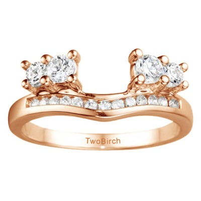 0.73 Ct. Four Stone Solitaire Anniversary Ring Wrap Enhancer in Rose Gold