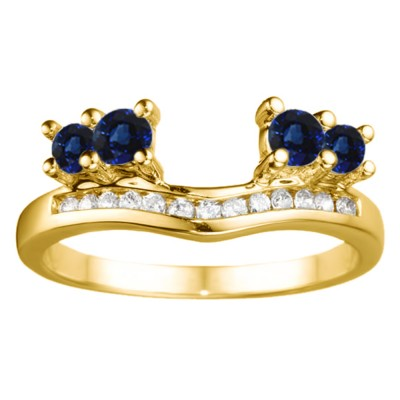 0.34 Ct. Sapphire and Diamond Four Stone Solitaire Anniversary Ring Wrap Enhancer in Yellow Gold