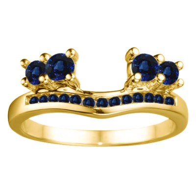 0.34 Ct. Sapphire Four Stone Solitaire Anniversary Ring Wrap Enhancer in Yellow Gold