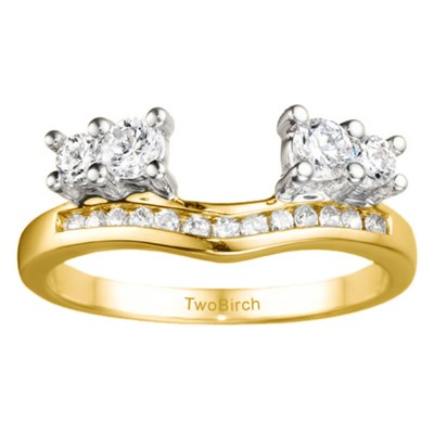 0.73 Ct. Four Stone Solitaire Anniversary Ring Wrap Enhancer in Two Tone Gold