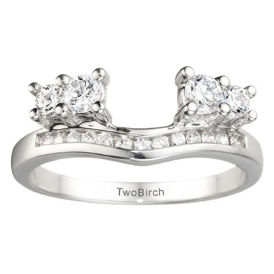 0.73 Ct. Four Stone Solitaire Anniversary Ring Wrap Enhancer With Cubic Zirconia Mounted in Sterling Silver (Size 6.25)