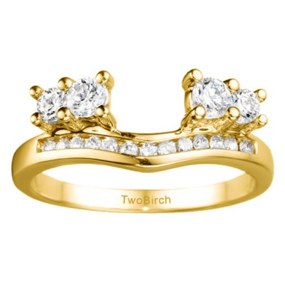 0.73 Ct. Four Stone Solitaire Anniversary Ring Wrap Enhancer in Yellow Gold