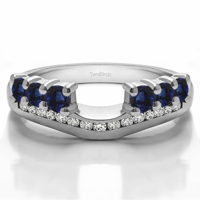 0.49 Ct. Sapphire and Diamond Six Stone Anniversary Ring Wrap with Channel Set Band