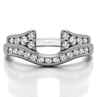 0.76 Ct. Round Channel Set Curved Anniversary Ring Wrap with Round With Cubic Zirconia Mounted in Sterling Silver (Size 10)