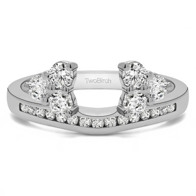 0.25 Ct. Round Cluster Contour Channel Set Anniversary Ring Wrap With Cubic Zirconia Mounted in Sterling Silver (Size 7)