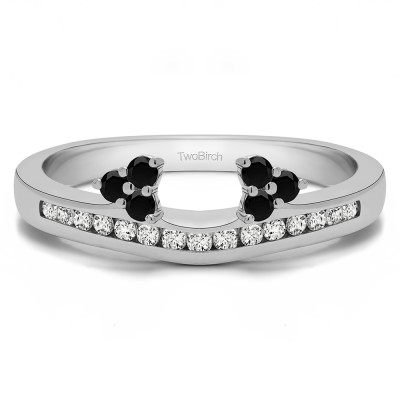 0.51 Ct. Black and White Round Cluster Contour Channel Set Anniversary Ring Wrap