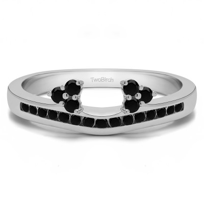0.25 Ct. Black Round Cluster Contour Channel Set Anniversary Ring Wrap