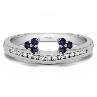 0.25 Ct. Sapphire and Diamond Round Cluster Contour Channel Set Anniversary Ring Wrap